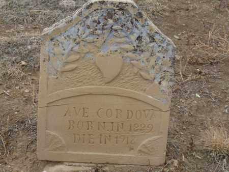CORDOVA, AVE - Colfax County, New Mexico | AVE CORDOVA - New Mexico Gravestone Photos