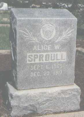 SPROULL, ALICE W. - Colfax County, New Mexico | ALICE W. SPROULL - New Mexico Gravestone Photos